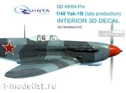 QD48004-Pro Quinta Studio 1/48 3D cabin interior Decal Yak-1B (for Modelsvit model)