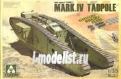 2015 Takom 1/35 WWI Heavy Battle Tank Mk.IV Male Tadpole Workable track & wheels; 2 decal options.
