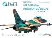 QD32003 Quinta Studio 1/32 Decal 3D interior cockpit of F-16C (for the Tamiya model)