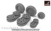 AW48028 Armory 1/48 set of wheel extensions for MiG-21 Wheels with weighted tires, medium