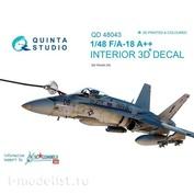 QD48043 Quinta Studio 1/48 3D Декаль интерьера кабины F/A-18A++ (Late) (для модели Kinetic)