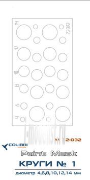 M72032 ColibriDecals 1/72 Маска для Круги диаметр 4,6,8,10,12,14 мм