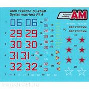 AMD172023-1 Advanced Modeling 1/72 Decals for Sukhoi-25CM from the Russian Aerospace Forces Aviation Group in Syria, Khmeimim airfield