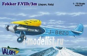 72071 Valom 1/72 Fokker F.VIIb/3m (Japanese and Italian marking)