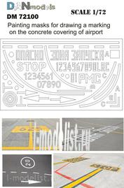 DM72100 DANmodel 1/72 Маски для нанесения разметки на бетонке, аэродром