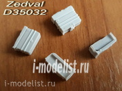 D35032 Zedval 1/35 ZPU Machine gun boxes for T-90. Included 4 parts