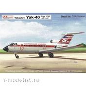 AZ14421 AZ Model 1/144  Yakovlev Yak-40 CSA Cubana Aircraft