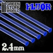 9253 Green Stuff World Акриловые круглые стержни, 2,4 мм - Флуоресцентный СИНИЙ / Acrylic Rods - Round 2.4 mm Fluor BLUE