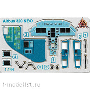 144226П Microdesign 1/144 Scales photo etched parts for the Airbus A320 Neo, the interior of the cockpit