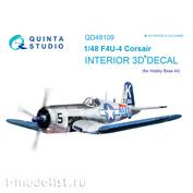 QD48109 Quinta Studio 1/48 3D Cabin Interior Decal F4U-4 (for HobbyBoss model)