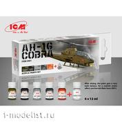 C3001 ICM Набор акриловых красок для Cobra AH-1G (5 красок + матовый лак, по 12 мл)