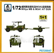 PS720047 S-Model 1/72 Willys MB & M3a1 at Gun