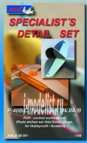 AMLA 48 001 AML 1/48 Набор дополнений P-40B/C (PUR control surfaces)