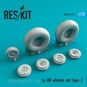 RS72-0271 RESKIT 1/72 Смоляные колёса для Ju-88, тип 2