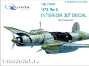 QD72001 Quinta Studio 1/72 3D cabin interior Decal PE-2 (for model Zvezda 7283)
