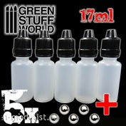 9274 Green Stuff World Empty Paint Pots with Steel Balls 17ml 5 pcs / Spare Paint Pots for mixes with Mixing Balls