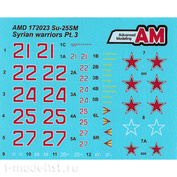 AMD172023 Advanced Modeling 1/72 Decals for Sukhoi-25CM from the Russian Aerospace Forces Aviation Group in Syria, Khmeimim Airfield