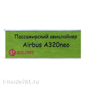 T315 Plate Plate for Airbus A320 Neo Passenger Airliner 80x30 mm, color green (S7 Airlines)