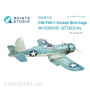 QD48110 Quinta Studio 1/48 3D Decal of the interior of the cabin F4U-1 Corsair (Bird cage) (for the Tamiya model)