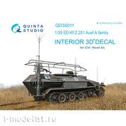 QD35011 Quinta Studio 1/35 3D Декаль интерьера кабины для KFZ 251 Ausf.A (для модели ICM)