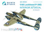 QD48030 Quinta Studio 1/48 Decal 3D interior cockpit P-38G lightning (for the Tamiya model)