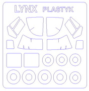 72272 KV Models 1/72 Набор окрасочных масок для Westland Lynx H.A.S. Mk.2 / Mk.25 / HMA (плюс маски на диски и колеса)