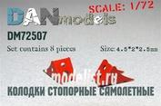 DM72507 DANmodel 1/72 Колодки стопорные самолетные 8 шт, набор №5 + декаль