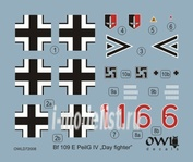 OWLDS72008 OWL 1/72 Decal Bf 109 E-3, W. Nr. 5057, double chevron