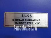 T251 Plate U-96 German Submarine U-Boot Type VIIC, 60x20 mm, color silver
