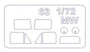 72307 KV Models 1/72 Набор окрасочных масок для остекления модели Гас-63