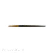 ЖS1-03,05Ж Roubloff Кисть, синтетика круглая под колонок черная № 3, короткая ручка
