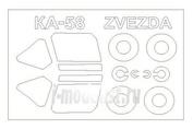72239 KV Models 1/72 Набор окрасочных масок для остекления модели Ка-58 + маски на диски и колеса