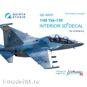 QD48007 Quinta Studio 1/48 3D interior Decal of the Yak-130 cabin (for the Zvezda model)