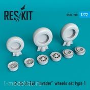 RS72-0260 RESKIT 1/72 Смоляные колёса для B-26 (A-26) Invader, тип 1
