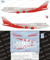 744-004 Ascensio 1/144 Декаль на самолет боенг 747-400 (Rossiya new Colors)