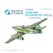 QD48089 Quinta Studio 1/48 3D Cabin Interior Decal Me-262A (for HobbyBoss model)