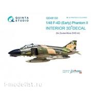 QD48130 Quinta Studio 1/48 3D Декаль интерьера кабины F-4D ранний (для модели ZM SWS)