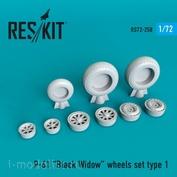 RS72-0258 RESKIT 1/72 Смоляные колёса для P-61 Black Widow