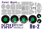 M72 041 KAV models 1/72 Paint mask for model PE-2 produced by Zvezda (7283). Mask for painting the glazing of the cabin and chassis.