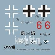 OWLDS72009 OWL 1/72 Decal Messerschmitt Bf 109 G-6/R6, 2./JG 300, Ofw. Arnold Doring