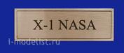 T268 Plate Табличка для X-1 NASA 60х20 мм, цвет золото