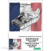 100062 Zebrano 1/100 Французский лёгкий танк Renault D1 с башней ST2