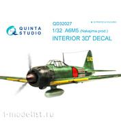 QD32027 Quinta Studio 1/32 3D Cabin Interior Decal A6M5 (Nakajima prod.) (for Tamiya model)