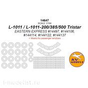 14647 KV Models 1/144 Paint Mask for L-1011 / L-1011-200 / L-1011-385-3 / L-1011-500 Tristar (EASTERN EXPRESS #14497, #144106, #144114, #144122, #144137) + masks for passenger windows and masks for wheels and wheels