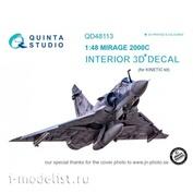 QD48113 Quinta Studio 1/48 3D Mirage 2000C Cabin Interior Decal (for Kinetic model)