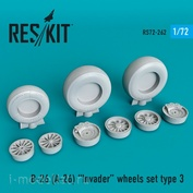 RS72-0262 RESKIT 1/72 Смоляные колёса для B-26 (A-26) Invader, тип 3