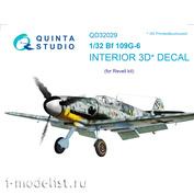 QD32029 Quinta Studio 1/32 3D Cabin Interior Decal Bf 109G-6 (for Revell model)