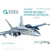QD48040 Quinta Studio 1/48 3D Декаль интерьера кабины F/A-18C (Late) (для модели Kinetic)