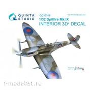 QD32018 Quinta Studio 1/32 3D Декаль интерьера кабины Spitfire Mk.IX (для модели Tamiya)