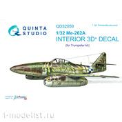 QD32059 Quinta Studio 1/32 3D Cabin Interior Decal Me-262A (for the Trumpeter model)